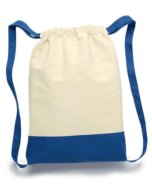 11 Ounce Cotton Canvas Contrast Bottom Drawstring Backpack