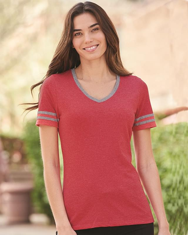 Triblend Women's V-Neck Varsity T-Shirt