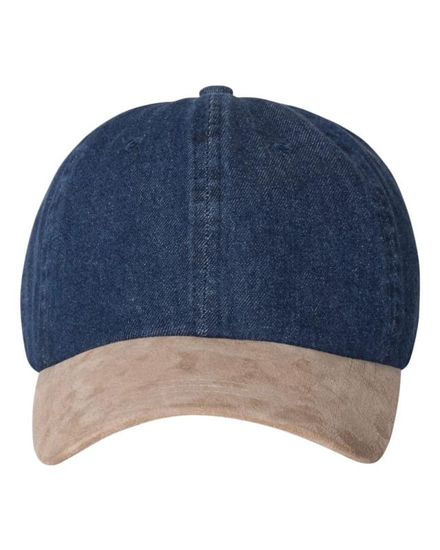 Washed Denim With Suede Bill Cap