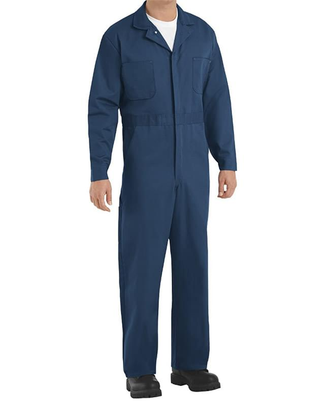Button-Front Cotton Coverall Long Sizes