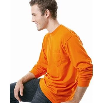 USA-Made 50/50 Long Sleeve T-Shirt with a Pocket
