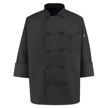 Black Knot Button Chef Coat