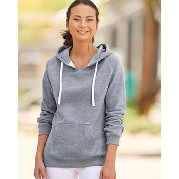 Women's Sueded V-Neck Hooded Sweatshirt