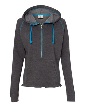 Women's Half-Zip Triblend Hooded Pullover Sweatshirt