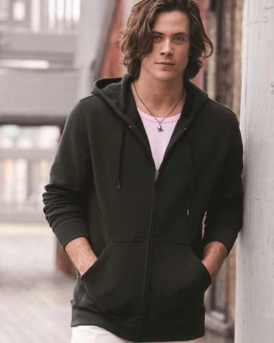 Cotton Blend Hooded Full-Zip Sweatshirt