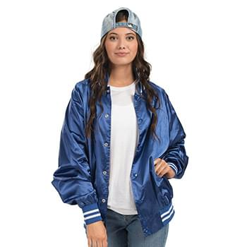 Satin Baseball Jacket Striped Trim