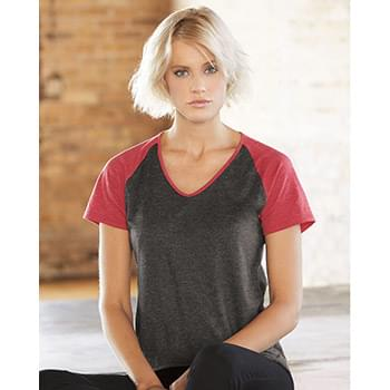 Women's Triblend Colorblock V-Neck Raglan Tee
