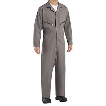 Zip-Front Cotton Coverall Long Sizes