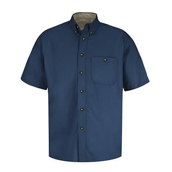 Men's Short Sleeve 100% Cotton Dress Shirt