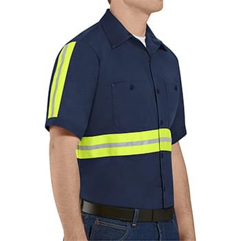 Enhanced Visibility Short Sleeve Cotton Work Shirt Long Sizes