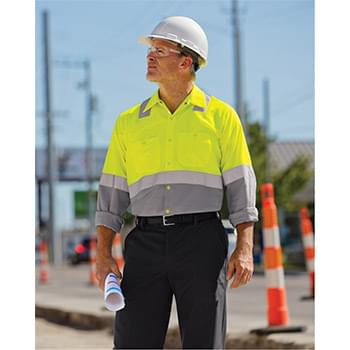 Enhanced & Hi-Visibility Long Sleeve Work Shirt - Long Sizes