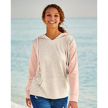 Women's French Terry Hooded Pullover with Colorblocked Sleeves
