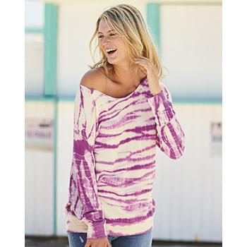 Women's French Terry Off-the-Shoulder Tie-Dyed Sweatshirt