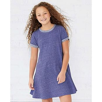 Harborside Mélange French Terry Girls' Twirl Dress
