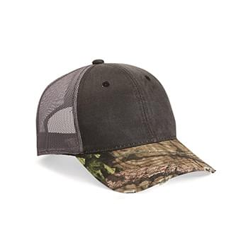 Distressed Camo Mesh-Back Cap