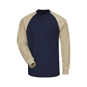 Long Sleeve Color-Block Tagless Henley Shirt