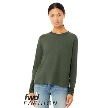 Fast Fashion Women's Side Slit Long Sleeve Tee