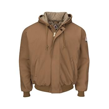 Insulated Brown Duck Hooded Jacket with Knit Trim - Long Sizes