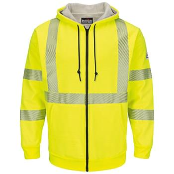 Hi-Visibility Zip-Front Hooded Fleece Sweatshirt with Waffle Lining - Long Sizes