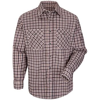 Plaid Long Sleeve Uniform Shirt - Long Sizes