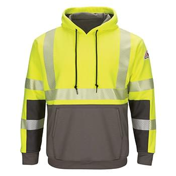 Hi-Visibility Color-Blocked Pullover Hooded Fleece Sweatshirt - Long Sizes