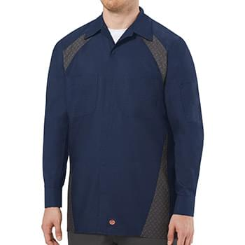 Long Sleeve Diamond Plate Shop Shirt - Long Sizes