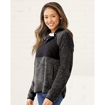 Women's Quilted Fuzzy Fleece Pullover