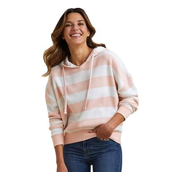 Women's Striped Fleece Boxy Hooded Sweatshirt
