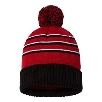Stripe Pom Beanie With Cuff