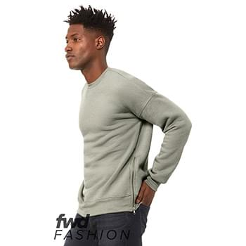 Fast Fashion Crewneck Sweatshirt with Side Zippers